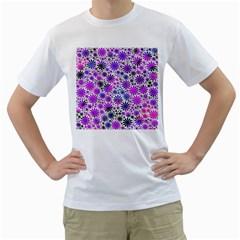 Lovely Allover Flower Shapes Pink Men s T-Shirt (White)