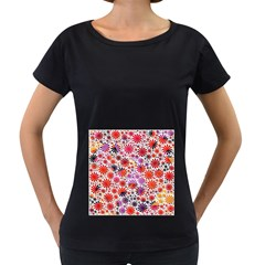 Lovely Allover Flower Shapes Women s Loose-Fit T-Shirt (Black) by MoreColorsinLife