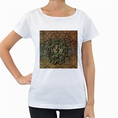 Elegant Clef With Floral Elements On A Background With Damasks Women s Loose-Fit T-Shirt (White) by FantasyWorld7