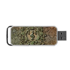 Elegant Clef With Floral Elements On A Background With Damasks Portable Usb Flash (two Sides) by FantasyWorld7