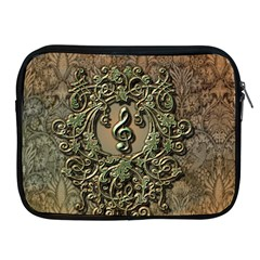 Elegant Clef With Floral Elements On A Background With Damasks Apple Ipad 2/3/4 Zipper Cases by FantasyWorld7