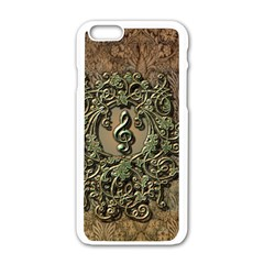 Elegant Clef With Floral Elements On A Background With Damasks Apple Iphone 6 White Enamel Case by FantasyWorld7
