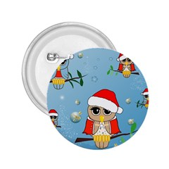 Funny, Cute Christmas Owls With Snowflakes 2 25  Buttons by FantasyWorld7