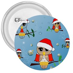 Funny, Cute Christmas Owls With Snowflakes 3  Buttons by FantasyWorld7