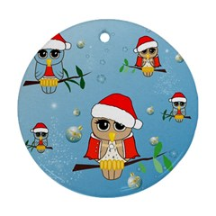 Funny, Cute Christmas Owls With Snowflakes Ornament (round)  by FantasyWorld7