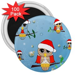 Funny, Cute Christmas Owls With Snowflakes 3  Magnets (100 pack) by FantasyWorld7