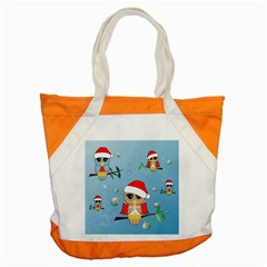 Funny, Cute Christmas Owls With Snowflakes Accent Tote Bag  by FantasyWorld7