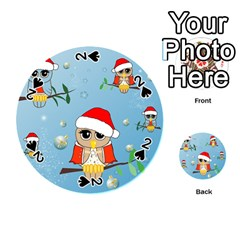 Funny, Cute Christmas Owls With Snowflakes Playing Cards 54 (round)