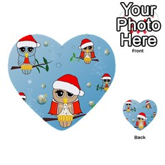 Funny, Cute Christmas Owls With Snowflakes Multi Purpose Cards (heart)  by FantasyWorld7