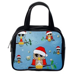 Funny, Cute Christmas Owls With Snowflakes Classic Handbags (one Side) by FantasyWorld7