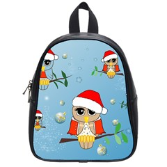 Funny, Cute Christmas Owls With Snowflakes School Bags (small)  by FantasyWorld7