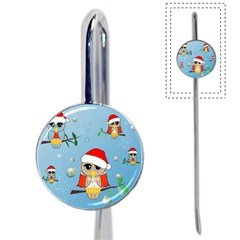 Funny, Cute Christmas Owls With Snowflakes Book Mark by FantasyWorld7