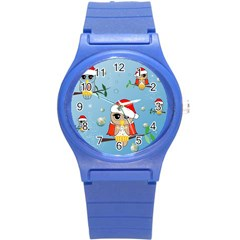 Funny, Cute Christmas Owls With Snowflakes Round Plastic Sport Watch (s) by FantasyWorld7
