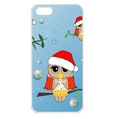 Funny, Cute Christmas Owls With Snowflakes Apple Iphone 5 Seamless Case (white) by FantasyWorld7