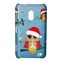 Funny, Cute Christmas Owls With Snowflakes Nokia Lumia 620 by FantasyWorld7
