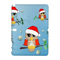 Funny, Cute Christmas Owls With Snowflakes Samsung Galaxy Note 10 1 (p600) Hardshell Case by FantasyWorld7
