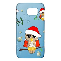 Funny, Cute Christmas Owls With Snowflakes Galaxy S6 by FantasyWorld7