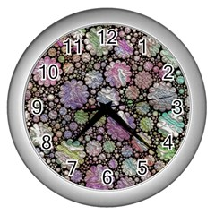 Sweet Allover 3d Flowers Wall Clocks (silver)  by MoreColorsinLife
