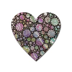 Sweet Allover 3d Flowers Heart Magnet by MoreColorsinLife