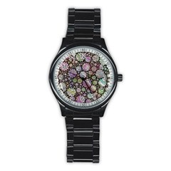 Sweet Allover 3d Flowers Stainless Steel Round Watches by MoreColorsinLife