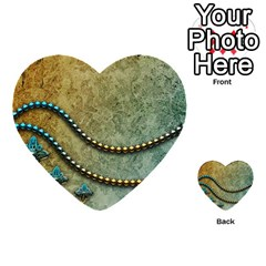 Elegant Vintage With Pearl Necklace Multi Purpose Cards (heart)  by FantasyWorld7