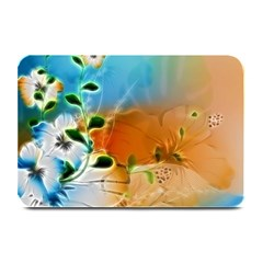 Wonderful Flowers In Colorful And Glowing Lines Plate Mats by FantasyWorld7