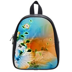 Wonderful Flowers In Colorful And Glowing Lines School Bags (small)  by FantasyWorld7