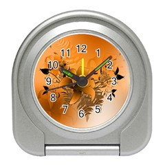 Awesome Summer  Flowers In Soft Red And Yellow Travel Alarm Clocks by FantasyWorld7