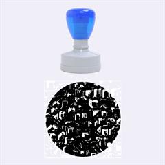 Metalart 23 Blue Rubber Round Stamps (medium)