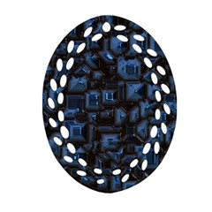 Metalart 23 Blue Ornament (oval Filigree)  by MoreColorsinLife