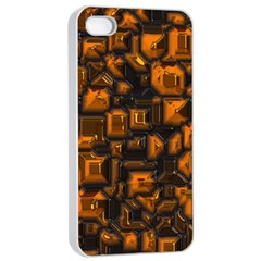 Metalart 23 Orange Apple Iphone 4/4s Seamless Case (white) by MoreColorsinLife