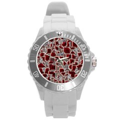 Metalart 23 Red Silver Round Plastic Sport Watch (l) by MoreColorsinLife
