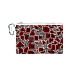Metalart 23 Red Silver Canvas Cosmetic Bag (S)