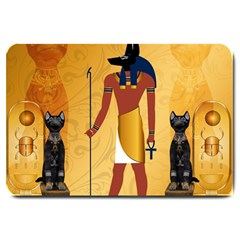 Anubis, Ancient Egyptian God Of The Dead Rituals  Large Doormat  by FantasyWorld7