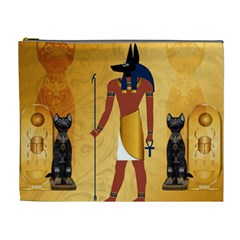 Anubis, Ancient Egyptian God Of The Dead Rituals  Cosmetic Bag (xl) by FantasyWorld7