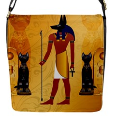 Anubis, Ancient Egyptian God Of The Dead Rituals  Flap Messenger Bag (s) by FantasyWorld7
