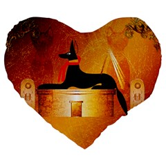 Anubis, Ancient Egyptian God Of The Dead Rituals  Large 19  Premium Heart Shape Cushions by FantasyWorld7