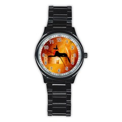 Anubis, Ancient Egyptian God Of The Dead Rituals  Stainless Steel Round Watches by FantasyWorld7
