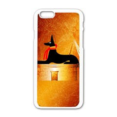 Anubis, Ancient Egyptian God Of The Dead Rituals  Apple Iphone 6 White Enamel Case by FantasyWorld7