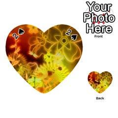 Glowing Colorful Flowers Playing Cards 54 (heart)