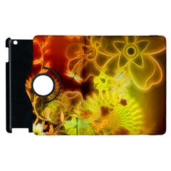 Glowing Colorful Flowers Apple Ipad 2 Flip 360 Case by FantasyWorld7