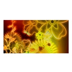 Glowing Colorful Flowers Satin Shawl by FantasyWorld7