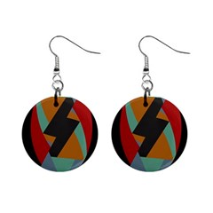 Fractal Design In Red, Soft Turquoise, Camel On Black Mini Button Earrings by theunrulyartist