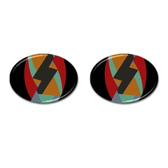 Fractal Design In Red, Soft Turquoise, Camel On Black Cufflinks (oval) by theunrulyartist
