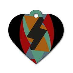 Fractal Design in Red, Soft-Turquoise, Camel on Black Dog Tag Heart (Two Sides) by theunrulyartist