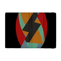 Fractal Design In Red, Soft Turquoise, Camel On Black Apple Ipad Mini Flip Case by digitaldivadesigns
