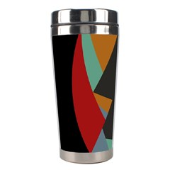 Fractal Design In Red, Soft Turquoise, Camel On Black Stainless Steel Travel Tumblers by digitaldivadesigns