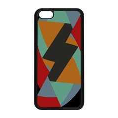 Fractal Design In Red, Soft Turquoise, Camel On Black Apple Iphone 5c Seamless Case (black) by theunrulyartist