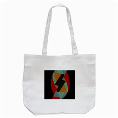 Fractal Design in Red, Soft-Turquoise, Camel on Black Tote Bag (White)  by theunrulyartist