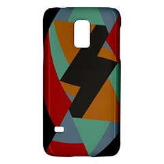Fractal Design In Red, Soft Turquoise, Camel On Black Galaxy S5 Mini by theunrulyartist